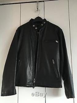 Schott NYC Men's Black Leather Motorcycle Jacket Cafe Racer 40