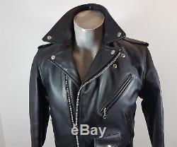 Schott NYC Perfecto 618J black leather biker motorcycle jacket size 38