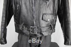 Schott NYC Vintage USA Dur-O-Jac Leather Motorcycle Biker Jacket Size 48 EX