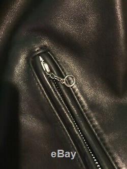Schott Nyc USA 641 Steerhide Leather Biker Jacket Heavy Duty Black Men Size 38 M