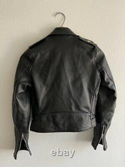 Schott Perfecto 218w Black Leather Lambskin Motorcycle Biker Jacket XS