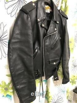 Schott Perfecto 618 Moto Leather Jacket Vintage Motorcycle Jacket 36 Black S 2
