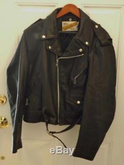 Schott Perfecto Black Leather Jacket Size 46 XL 1980's YKK Zipper EXC 618/613