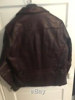 Schott Perfecto Horween Delivery Jacket Heavy P653 Burgundy Leather Made in USA
