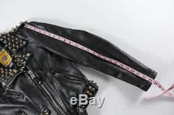Schott Perfecto Leather Jacket Black Gold Studded Belted Motorcycle S Small USA