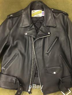 Schott Perfecto One Star Leather Biker Jacket Size 44
