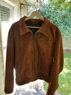 Schott perfecto roughout leather trucker jacket (large) full grain suede