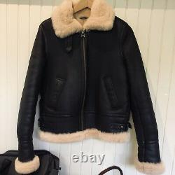 Sheepskin Shearling Jacket Coat Deep Chocolate acne inspired Design Size 8/10