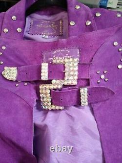 Southwest Jacket Skirt Chaps Purple Suede Fringe Rhinestone Cowgirl Size M USA