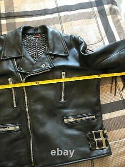 Studded Leather Jacket Punk Metal Fringe Vintage Biker Jacket