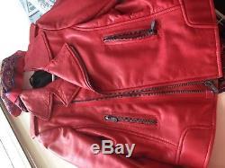 Stunning Balenciaga Lipstick Red Leather Biker Jacket, Sz 44