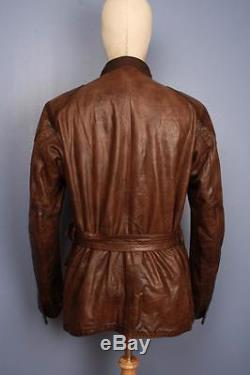 Stunning Mens BELSTAFF 1966 Panther Brown Leather Motorcycle Jacket Medium