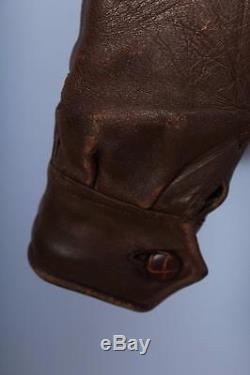 Stunning Vtg 1930s HORSEHIDE Leather Motorcycle Sports Aviator Jacket