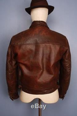 Stunning Vtg 40s AVIATOR Flight Motorcycle Sports Horsehide Leather Jacket XS
