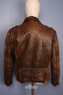 Stunning Vtg 50s PJ-27 Police HORSEHIDE Leather Motorcycle Jacket Large BUCO