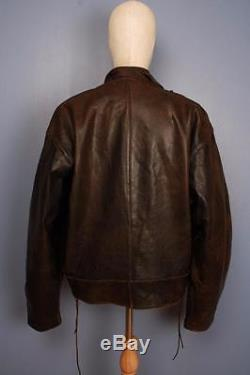 Stunning Vtg 50s SWEDISH Military TANKER Dispatch Leather Motorcycle Jacket XL