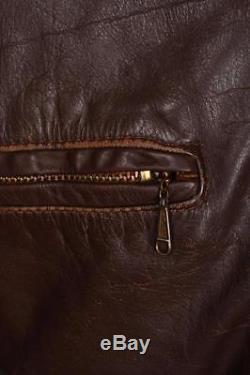 Stunning Vtg 60s BROOKS Steerhide Leather Cafe Racer Motorcycle Jacket Large