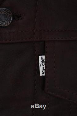 Stunning Vtg LEVIS STRAUS Brown Leather Motorcycle Jacket Western Medium