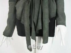 Stunning Women All Saints Damson Leather Jacket Draped Biker Grey Green 10 £295