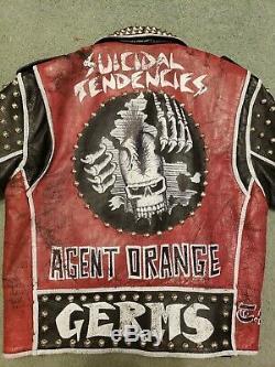 Suicidal Tendencies Men's Punk Studded Painted Jacket Coat