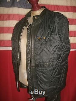 Superb NATAL Cafe Racer Motorcycle Biker Heavy Leather Jacket. Size 46. TALON