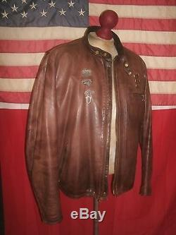 Superb SCHOTT 141L Cafe Racer Motorcycle Bucklebacks Leather Jacket. Size 50 Long