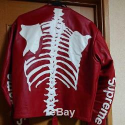 Supreme x Vanson Leather Bones Jacket Size L Rare From JAPAN