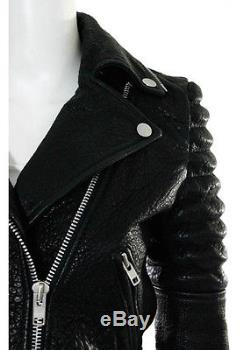 THE ARRIVALS Black Leather Ribbed Studded Collared Motorcycle Jacket Sz S
