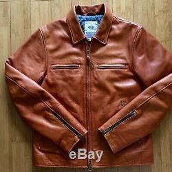 Taylor Stitch Moto Jacket Whiskey Steerhide Leather Jacket Mens Large 42