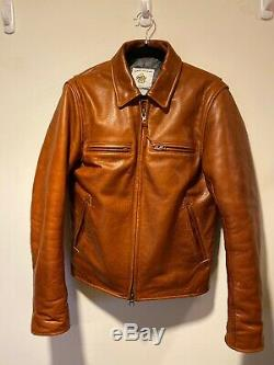 Taylor Stitch X Golden Bear The Moto Leather Jacket In Whiskey Steerhide S 38