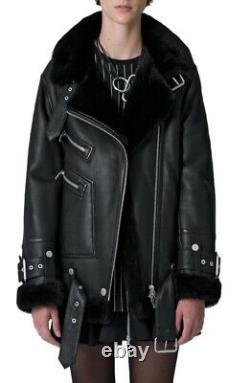 The Arrivals Moya III Black Leather Shearling Oversized Jacket Size Medium