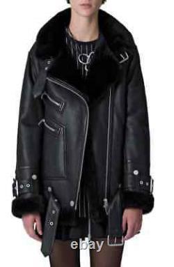 The Arrivals Moya III Black Leather Shearling Oversized Jacket Size XS