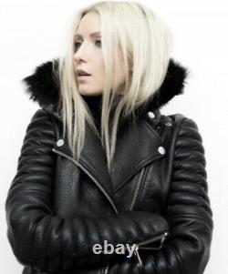 The Arrivals Small RAINIER Black Lamb Leather Jacket Moto Biker Coat Fur Collar