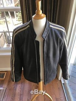 Tommy Hilfiger Lethal Weapon 4 Medium Leather Motorcycle Jacket Rare Stripes