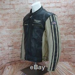 Triumph Motorbike Motorcycle Leather Black & Cream Mens Protection Jacket M