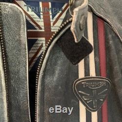 Triumph Raven Leather Motorcycle Jacket XL