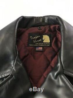 Trojan Horse Black Horsehide Leather Jacket Size 48. Schott USA