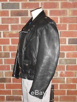 True Vntg Schott Perfecto Blk Leather Motorcycle Jacket Brando Punk RockStyle118