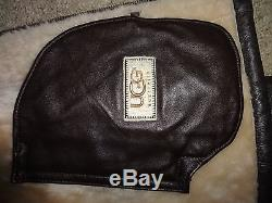 UGG Australia Mens Brown Leather Fur Driving Jacket Coat Warm Lined Size XXL
