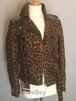 UNIF Leopard print suede studded moto jacket extremely rare dolls kill sz M