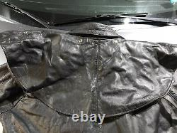 UNIK Mens XL Long Black Leather Western Cowboy Duster Full Length Trench Coat