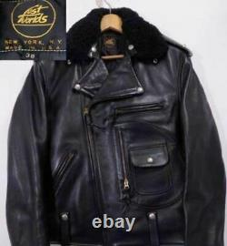 USA Lost Worlds J24 Double Riders Jacket Black 38 Horsehide from Japan F/S