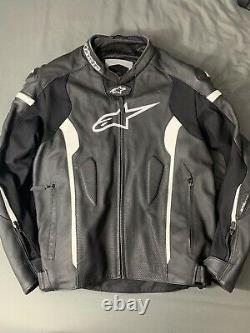 USED 2018 Alpinestars Missle Tech-Air Leather Motorcycle Jacket Blk/Wht SIZE 60