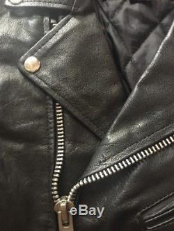 Unik Black Leather 50's Style Brando Biker Motorcycle Jacket Sz 12 Zips Punk