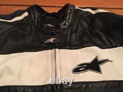 Used Alpinestars Black Royal Leather Motorcycle Riding Jacket 46 Protective LE