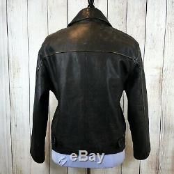 Used J. Crew Men's Heavy Leather Jacket Quilt Lined Size Medium M Brown