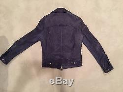 Used Tom Ford S/S 2015 Blue Leather Jacket Size 46