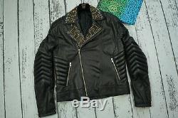 Used Versace H&m Mens Jacket Coat Biker Leather 100% Authentic Size L 50