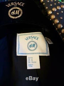 Used Versace H&m Mens Jacket Coat Biker Leather 100% Authentic Size M