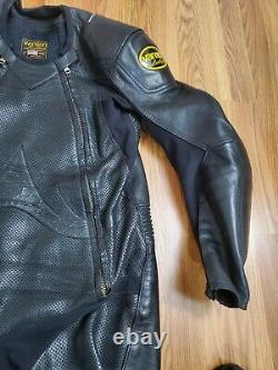 VANSON Full Body Competition Leather Motorcycle Racing Suit Check Size Details